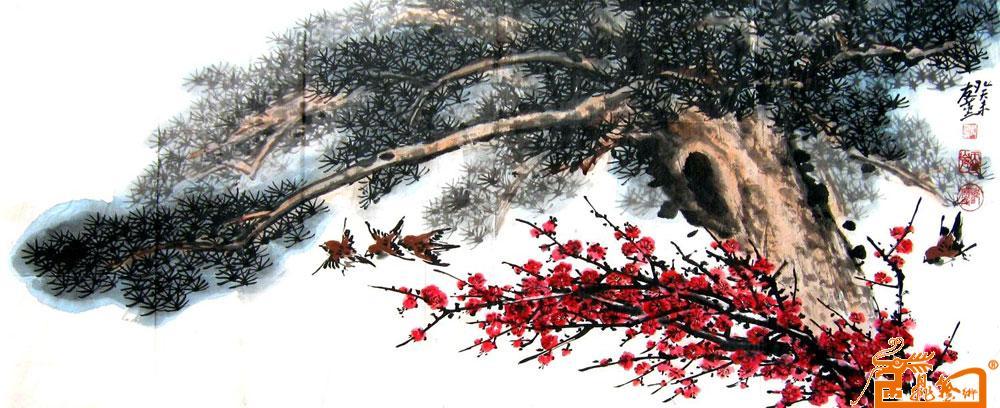 名家 邹友蒸 国画 - 29图《麻雀 松树 红梅》